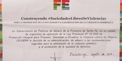 Malabrigo reconocida por la Subsecretaría de Políticas de Género de Santa Fe